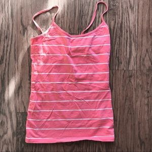 Tops - Pink and white striped tank top